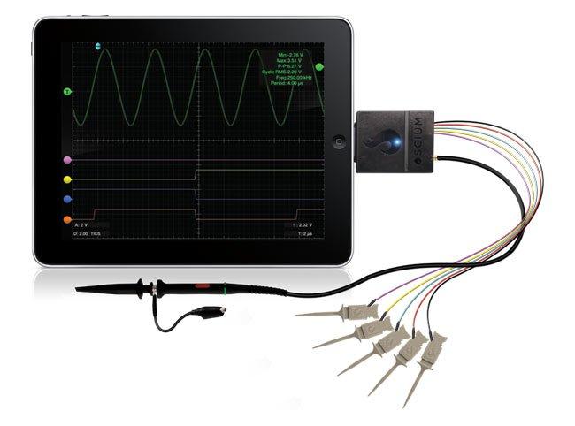 Устройство перевоплощает Apple's IOS девайсы IPod Touch, iPhone или IPad в осциллограф смешанных сигналов